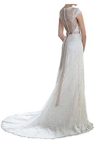 Milano Bride Elegant Etui-Linie Kurzarm V-Ausschnitt Hochzeitskleider Brautkleider Brautmode Spitzenkleider mit Schleifband Schleppe-38-Elfenbein -